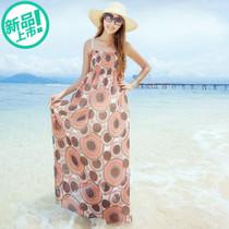 韩依依2013夏装新款 性感波西米亚风印花大摆裙超长款吊带抹胸裙 价格:69.44