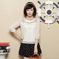 2013秋装新款女装娃娃领高档蕾丝刺绣上衣服甜美雪纺衫双层蕾丝衫 价格:98.00