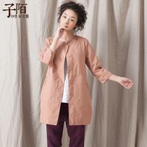 子陌2013秋装新款圆领布衣中长款七分袖大码宽松显瘦风衣外套女 价格:139.00