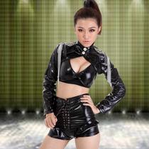 新款夜场舞台装ds演出服性感女歌手JAZZ爵士舞服装女夜店漆皮套装 价格:58.00