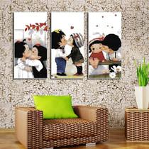 十字绣最新款客厅大画精准印花正品专卖三联画系列亲亲宝贝三联画 价格:18.00