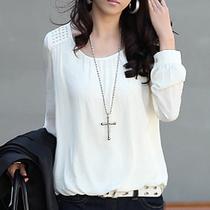 长袖夏装女装上衣 韩版雪纺控泡泡袖白色大码雪纺衫宽松打底衫秋 价格:47.80