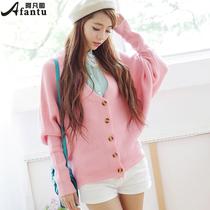 2013秋装新款女装冬季加厚蝙蝠袖毛呢外套宽松开衫毛衣针织衫 价格:59.00