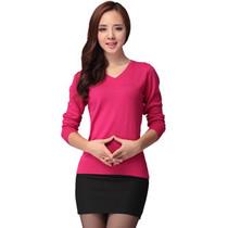 新款女式V领羊绒衫 羊毛衫 长袖针织衫百搭打底衫韩版毛衣包邮 价格:80.00