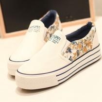 潮2013秋学生厚底帆布鞋子韩版女鞋板鞋休闲鞋一脚蹬懒人鞋松糕鞋 价格:49.88