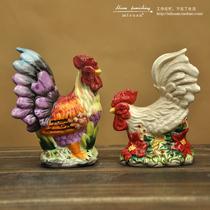 外贸单/手绘彩色/白色吉祥公鸡陶瓷摆件/调料瓶/家居装饰品/特价 价格:24.00