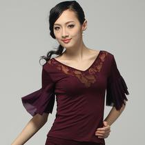 新款 淳魅CHAGME 短袖拉丁舞上衣 广场舞蹈服装 拉丁舞服装 1071 价格:39.00