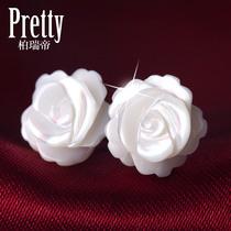 包邮 正品母贝壳玫瑰花纯银耳钉 女可爱生日情人节礼物纯银首饰品 价格:19.90