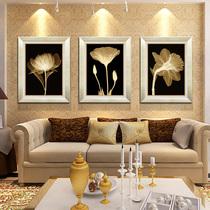 皇冠卖家客厅现代装饰画沙发背景墙有框壁挂画 抽象金色年华三联 价格:120.00