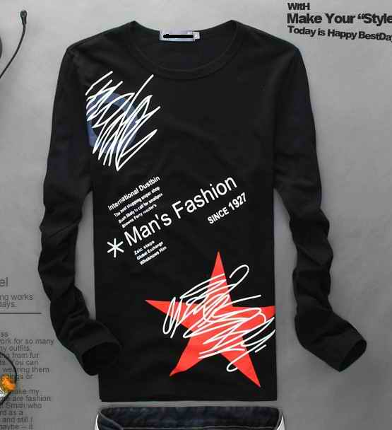 男装2013秋装型修身型男士可爱上衣服个性韩版纯棉打底衫长袖T恤 价格:28.00