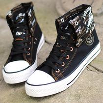 男帆布鞋 英伦内增高 男鞋 高帮 韩版 潮鞋 黑色2013新款秋季流行 价格:52.00