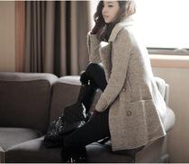 爆款秋冬韩国代购新款中长款修身显瘦韩版毛呢子大衣百搭外套女装 价格:169.00