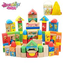丹妮婴儿童积木 木制大块100早教桶装宝宝启蒙益智积木质儿童玩具 价格:48.80
