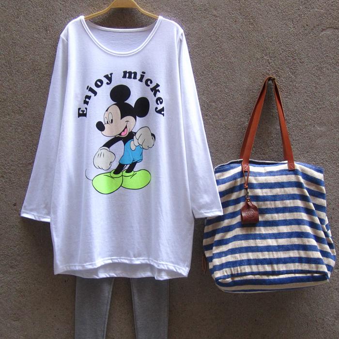 秋季女装新款韩版宽松大码圆领套头打底长袖茧型裙式纯棉长款T恤 价格:39.00