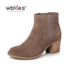新款靴子女春秋短靴复古高跟粗跟磨砂牛皮真欧美单靴子女及踝裸靴 价格:159.00
