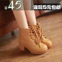 正品厚底秋冬裸靴英伦系带高跟马丁靴单靴粗跟女靴短靴大码雪地靴 价格:45.00