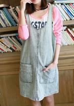 复古做旧宽松大口袋简约款无袖背带裙连衣裙子女 秋装日系森女C30 价格:58.00