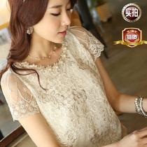 新款夏装韩版女装短袖上衣绣花雪纺衫修身显瘦气质OL通勤蕾丝衫潮 价格:46.80