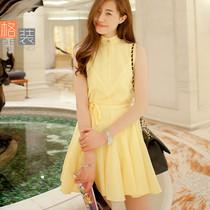 格装 2013夏季新款白黄色连衣裙 女韩版显瘦无袖大摆雪纺背心裙子 价格:128.00