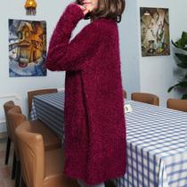 2013秋季新款韩版 马海毛针织衫开衫女外套 宽松中长款外搭毛衣 价格:59.00