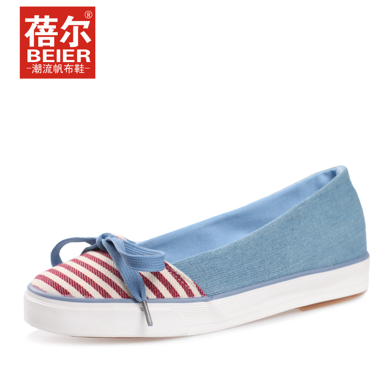 蓓尔2013夏季新款帆布鞋 女鞋子 条纹透气休闲布鞋甜美单鞋包邮 价格:69.00