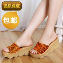 包邮专柜代购千百丽娜牛皮斑马纹马毛松糕底坡跟女凉拖鞋3P135D 价格:109.00