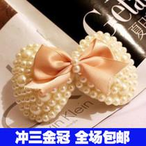 2253 韩国头饰 珍珠布艺丝带蝴蝶结发夹边夹鸭夹发饰批发 价格:3.80