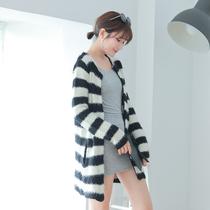 2013秋装新款女装韩国黑白条纹长袖中长款马海毛开衫毛衣女AJ060 价格:56.00