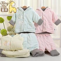 童泰 婴儿棉袄 珊瑚绒加厚宝宝棉衣衣服秋冬男女儿童棉服保暖套装 价格:65.90