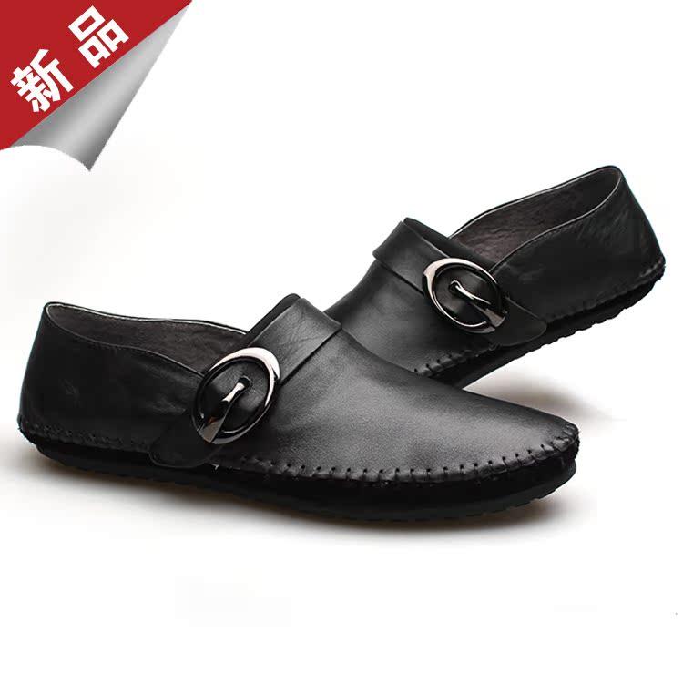 男士一脚蹬休闲皮鞋软 韩版潮流豆豆鞋 小码真皮驾车鞋英伦男鞋子 价格:158.00