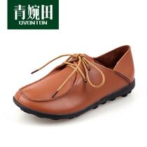 青婉田 真皮休闲鞋女鞋2013新款 防滑平底孕妇妈妈鞋 大码女单鞋 价格:168.00