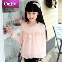 卡尔菲特2013女童秋装新款纯棉圆领长袖T恤 儿童韩版公主雪纺衫 价格:57.88