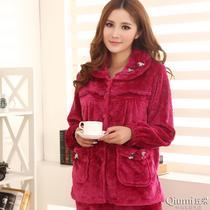 秋冬季长袖加厚珊瑚绒睡衣女士红色套装法兰绒睡衣家居服大码包邮 价格:95.00
