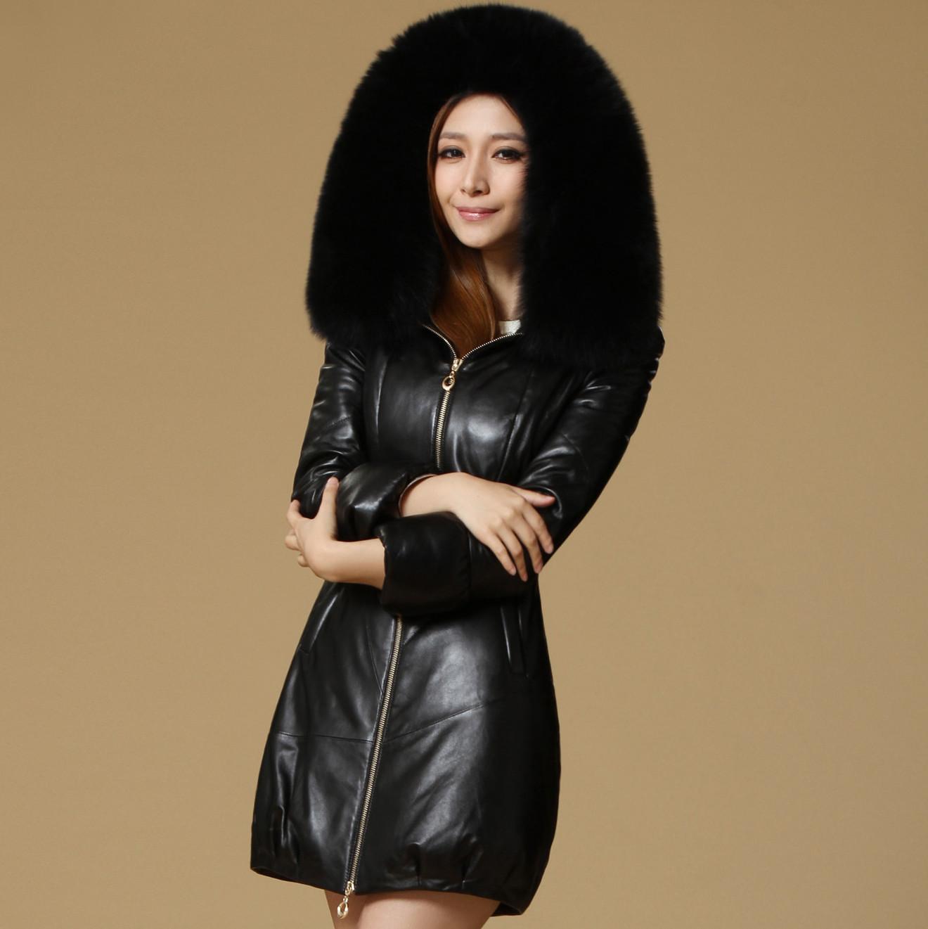 芭歌海宁皮衣2013新款真皮羽绒女士中长款狐狸毛领绵羊皮真皮皮衣 价格:1750.00