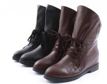 星期六正品 2013冬新款牛皮内增高女短靴机车靴  全国包邮 价格:228.00