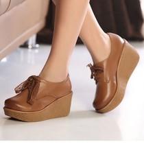 2013春秋款女鞋松糕鞋厚底英伦复古女单鞋坡跟高跟鞋真皮鞋摇摇鞋 价格:164.00