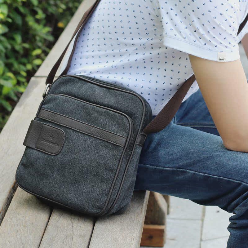 韩版男士帆布包男包包 休闲单肩包斜挎包 时尚学生包肩包潮小挎包 价格:39.00