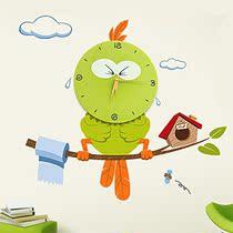 正品壁纸钟 DIY挂钟 静音时尚钟表 卡通现代创意 儿童房挂钟包邮 价格:58.00
