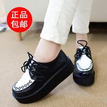 原宿款黑白复古松糕鞋欧美英伦风女鞋 厚底鞋圆头系带单鞋坡跟鞋 价格:45.00