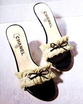 香港专柜代购 双C小香 香奈儿蕾丝布艺花边蝴蝶细高跟气质凉拖鞋 价格:2218.00