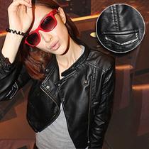2013新款女装秋装 韩版水洗PU皮夹克外套 机车短款女士修身小皮衣 价格:58.00