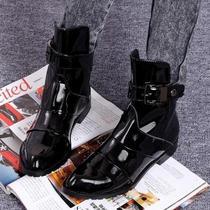 2013春秋季时尚酷派 尖头朋克漆皮短靴 漆面真皮平跟女式靴子单靴 价格:228.00