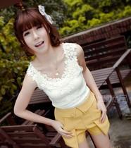 韩版女装夏季性感女装镂空勾花蕾丝吊带 背心 女无袖工字打底衫 价格:9.90