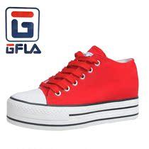 杰飞乐 帆布鞋新品新款韩版纯色休闲高帮厚底松糕增高女鞋G8087 价格:48.00