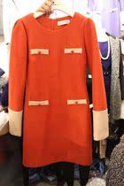 2013韩国东大门代购秋装新款韩版气质女装显瘦大码长袖毛呢连衣裙 价格:148.00