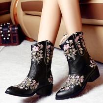 2013秋季粗跟短靴刺绣花朵裸靴中跟踝靴单靴韩版马丁靴春秋女靴子 价格:229.00
