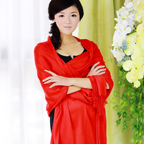 千色新娘红色仿羊绒流苏围巾女春秋超大长款结婚披肩加厚婚纱披肩 价格:38.00