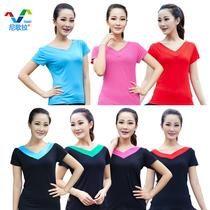 尼歌拉  广场舞服装套装新款上衣短袖舞蹈双V领拉丁舞服装表演服 价格:16.80