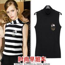 2013欧美风秋装新款 气质高领条纹修身无袖套头针织衫 EL13QSU120 价格:148.00