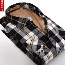 玛兰西卡2013冬款加厚羊羔绒格子保暖衬衫加绒磨毛男士长袖衬衣 价格:99.00